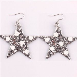 Silver Holiday Polka Dot Star Earrings